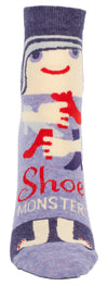 Blue Q Womens SW612 Cotton Ankle Fashion Socks, Shoe Monster, One Size