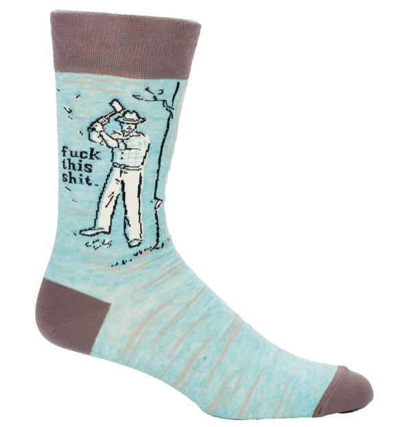 Blue Q Mens SW806 Cotton Crew Fashion Socks, Fuck This Shit, One Size
