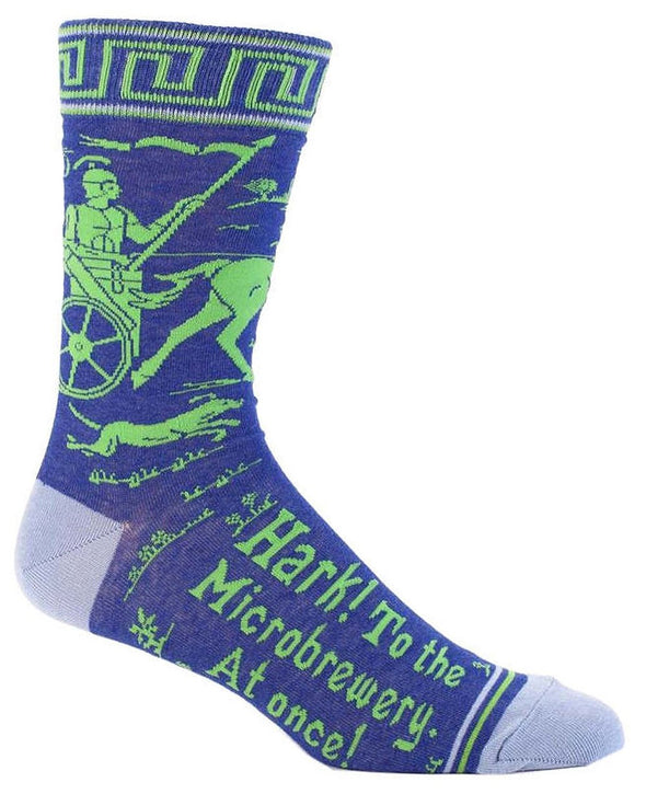 Blue Q Mens SW818 Cotton Crew Fashion Socks, Hark! Microbrewery, One Size
