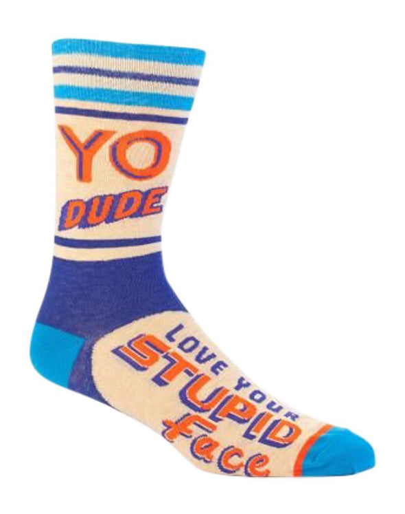 Blue Q Mens SW821 Cotton Crew Fashion Socks, Yo Dude. Stupid Face, One Size