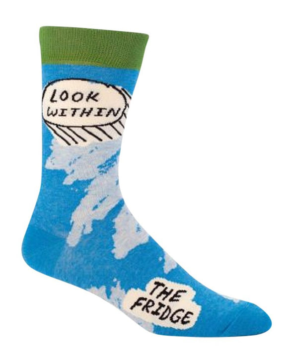 Blue Q Mens SW823 Cotton Crew Fashion Socks, Look Within Fridge, One Size