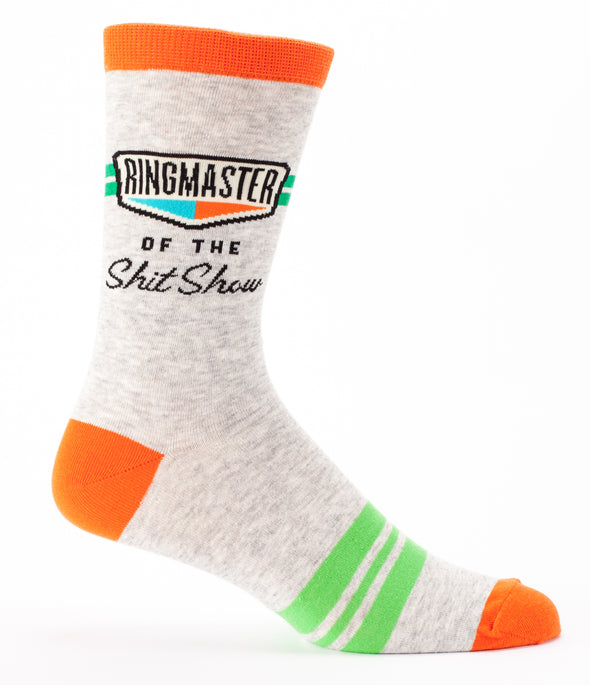 Blue Q Mens SW838 Cotton Crew Fashion Socks, Ringmaster Shit Show, One Size