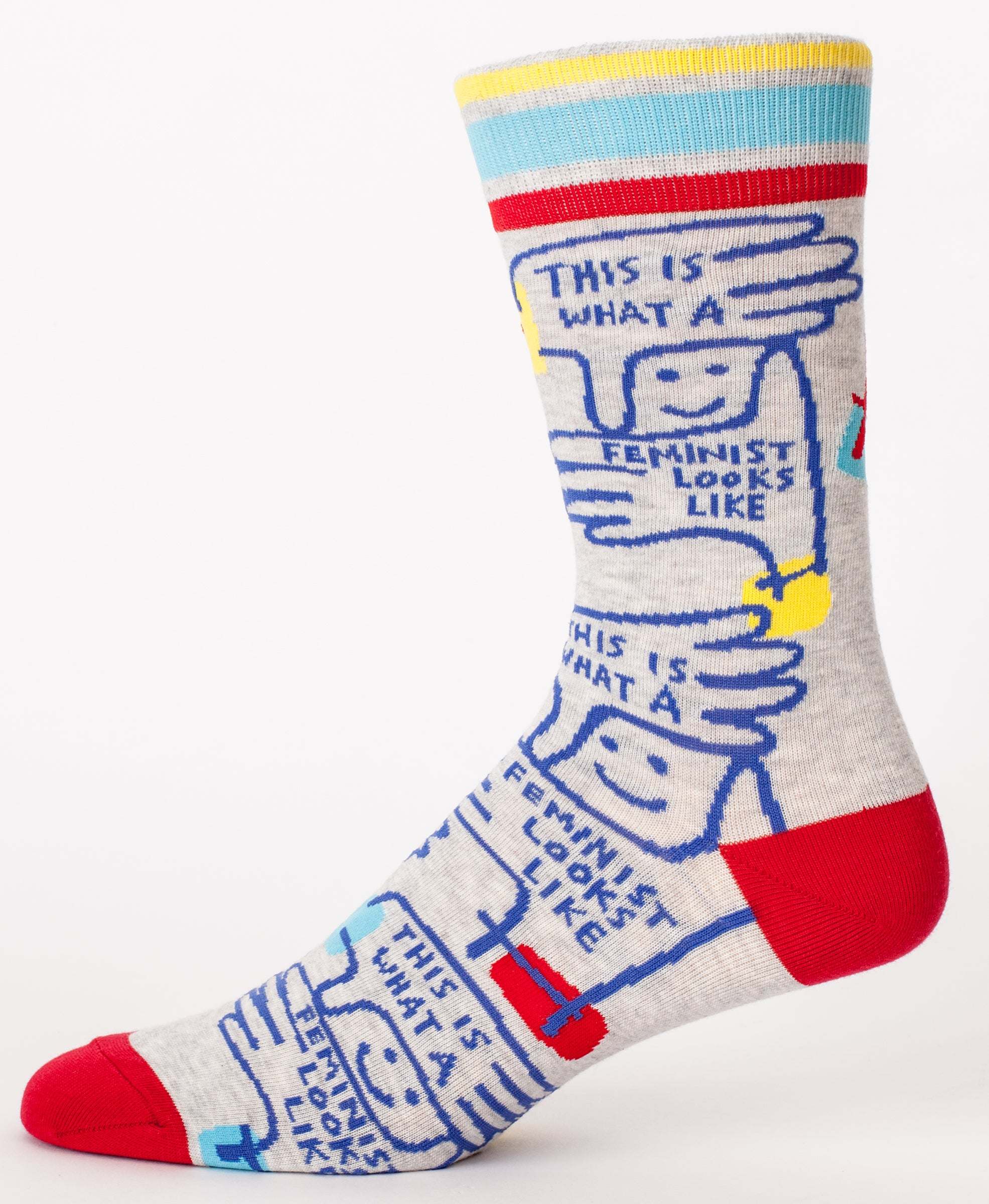 Blue Q Mens SW846 Cotton Crew Fashion Socks, Feminist Looks
