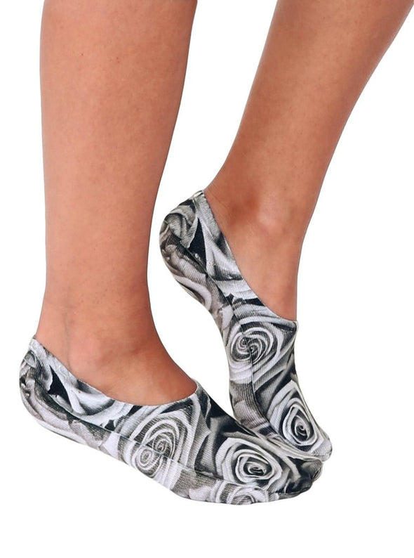 Living Royal Unisex Invisible Fashion Socks, Black and White Rose, One Size