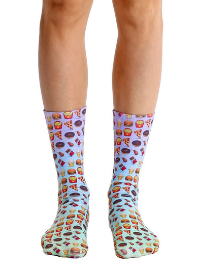 Living Royal Unisex Crew Fashion Socks, Food Emoji, One Size