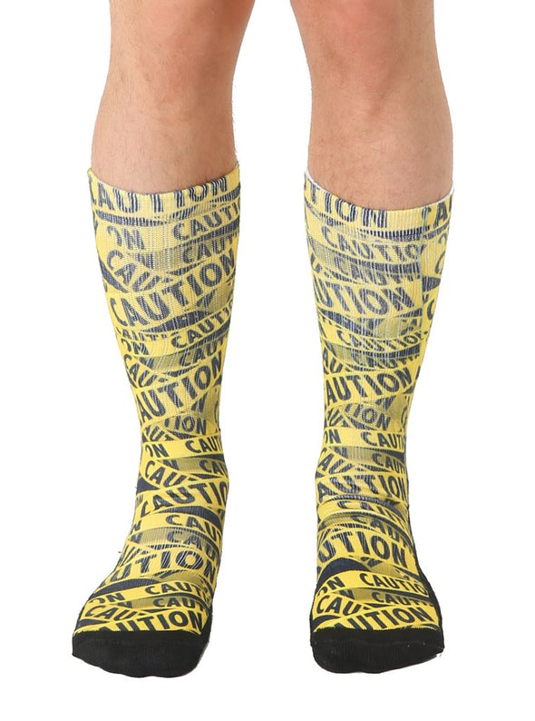 Living Royal Unisex Crew Sports Socks, Caution, One Size