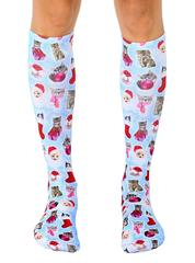 Living Royal Unisex Knee High Fashion Socks, Christmas Kitties, One Size