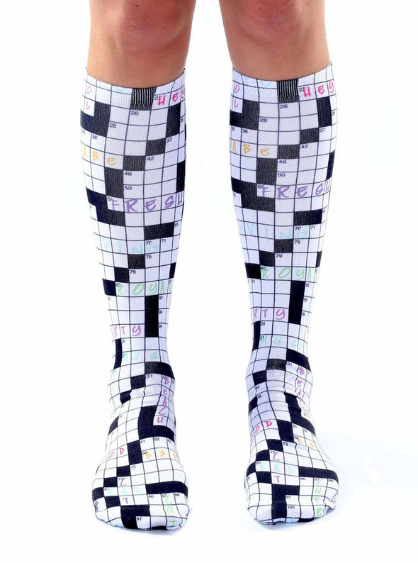 Living Royal Unisex Knee High Fashion Socks, Crossword, One Size