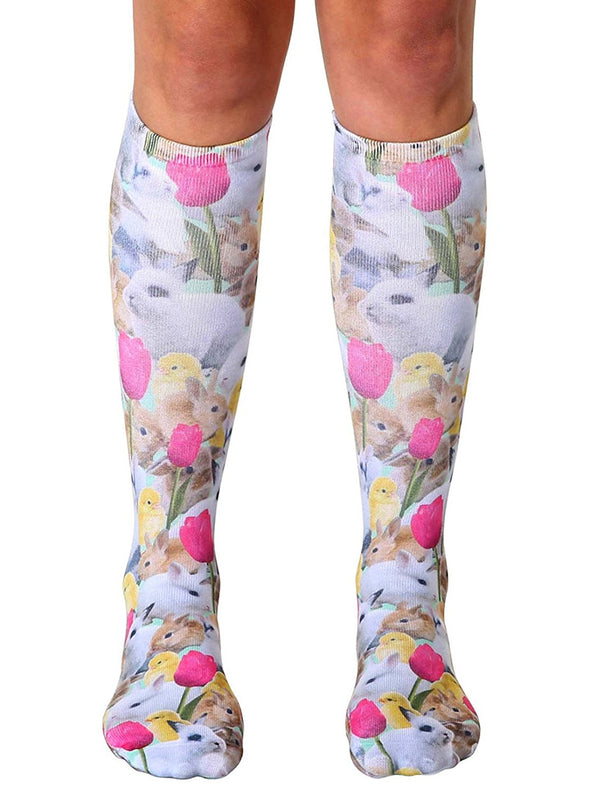 Living Royal Unisex Knee High Fashion Socks, Easter bunnies, One Size