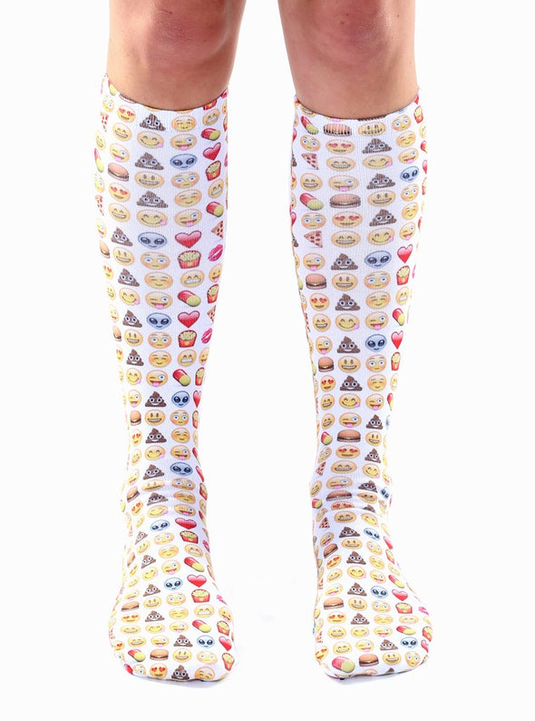 Living Royal Unisex Knee High Fashion Socks, Emoji, One Size