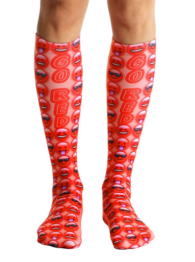 Living Royal Unisex Knee High Fashion Socks, Go Red, One Size