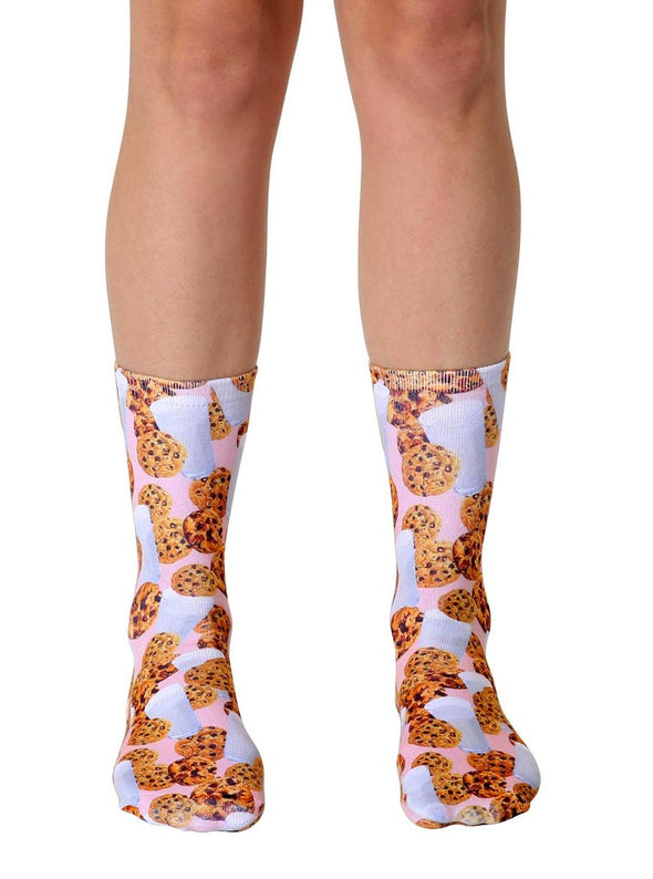Living Royal Unisex Crew Fashion Socks, Milk and Cookies, One Size