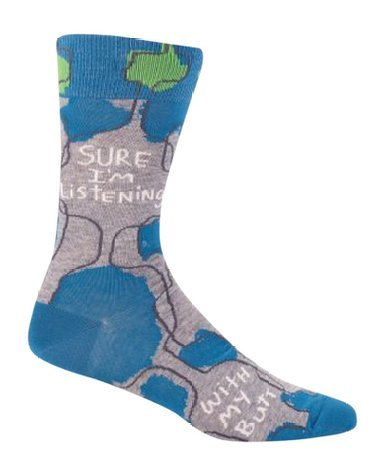 Blue Q Mens SW825 Cotton Crew Fashion Socks, Sure I'm Listening, One Size