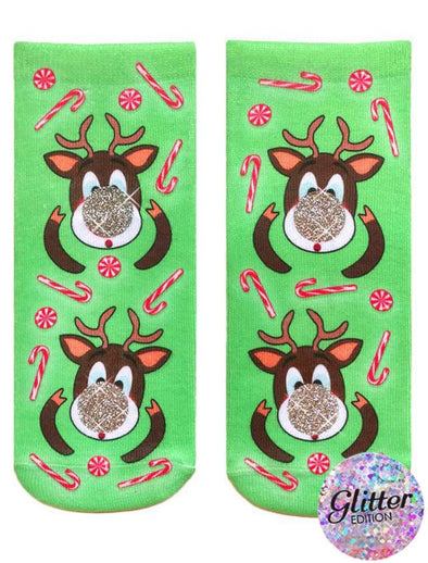 Living Royal Unisex Polyester Ankle Fashion Socks, Rudolph's Nose Glitter, One Size