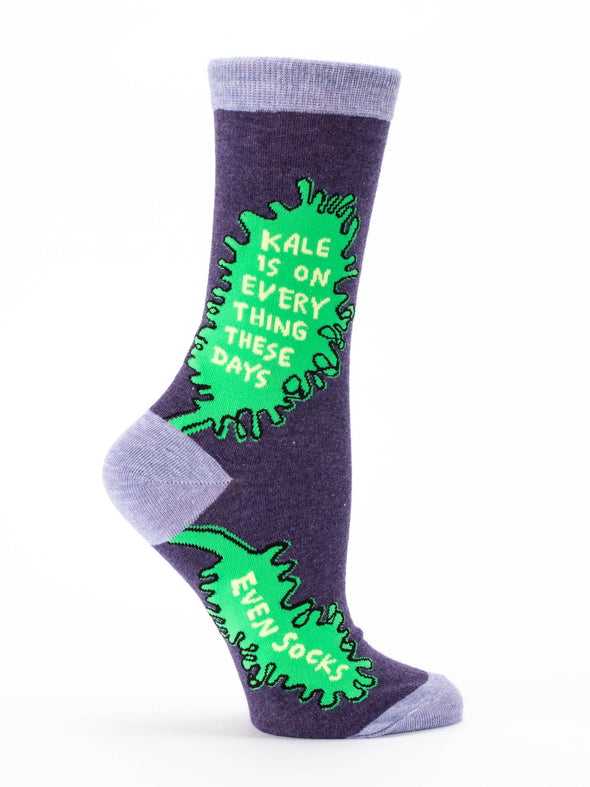 Blue Q Womens SW476 Cotton Crew Fashion Socks, Kale, One Size