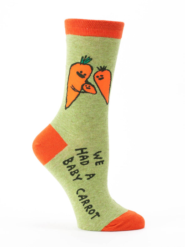 Blue Q Womens SW477 Cotton Crew Fashion Socks, Baby Carrot, One Size