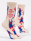 Blue Q Womens SW506 Cotton Crew Fashion Socks, When My Song Comes On, One Size