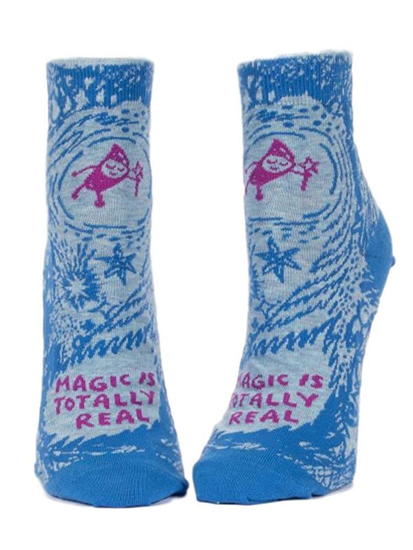 Blue Q Womens SW642 Cotton Ankle Fashion Socks, Magic Is Totally Real, One Size