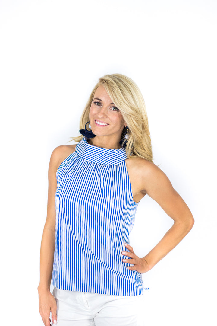 Annapolis Striped Cowl Neck Top