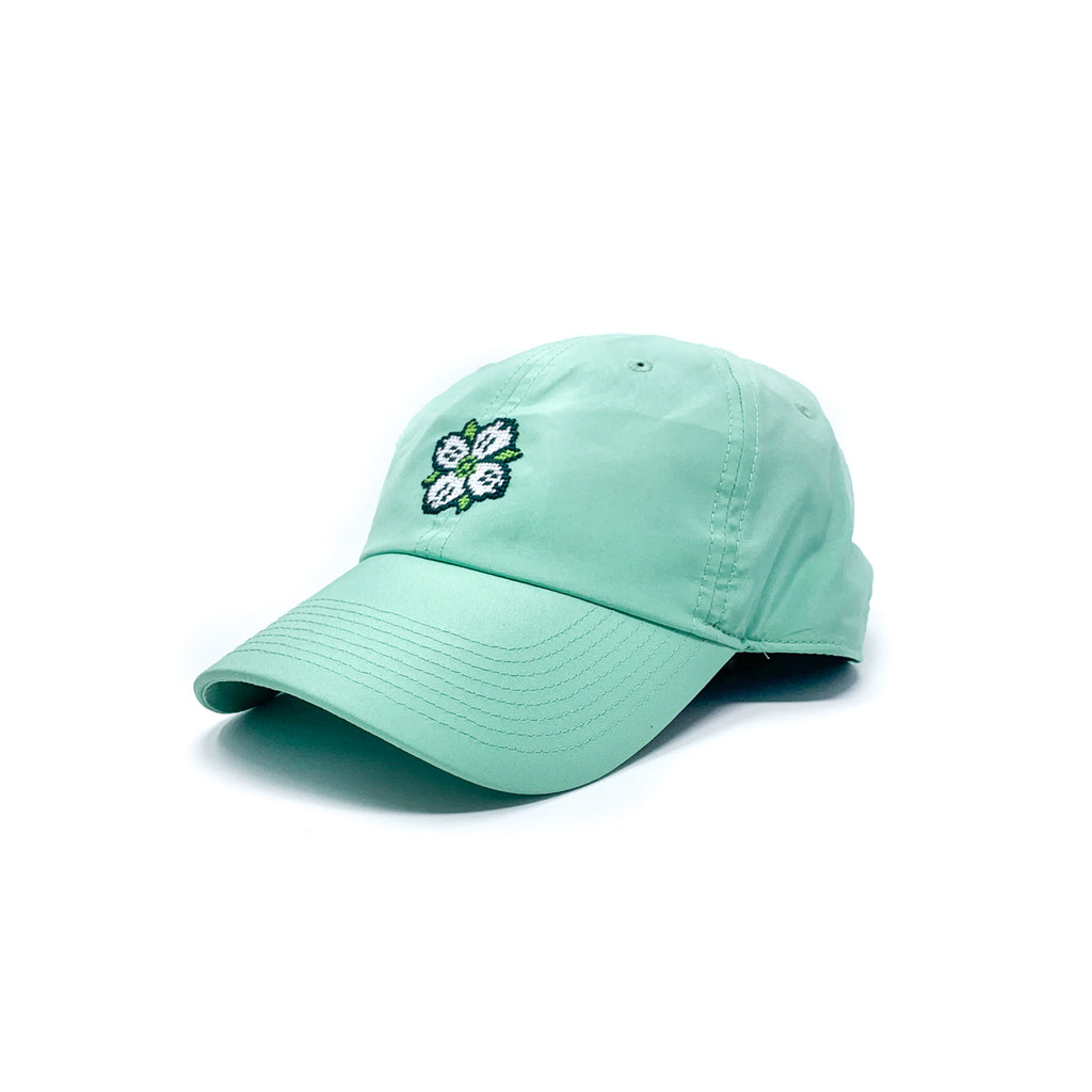 *Performance* Needlepoint Dogwood Logo Hat in Seafoam
