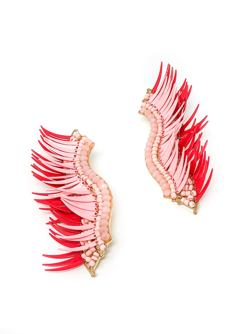 Austin Large Pink Wing Beaded Earrings