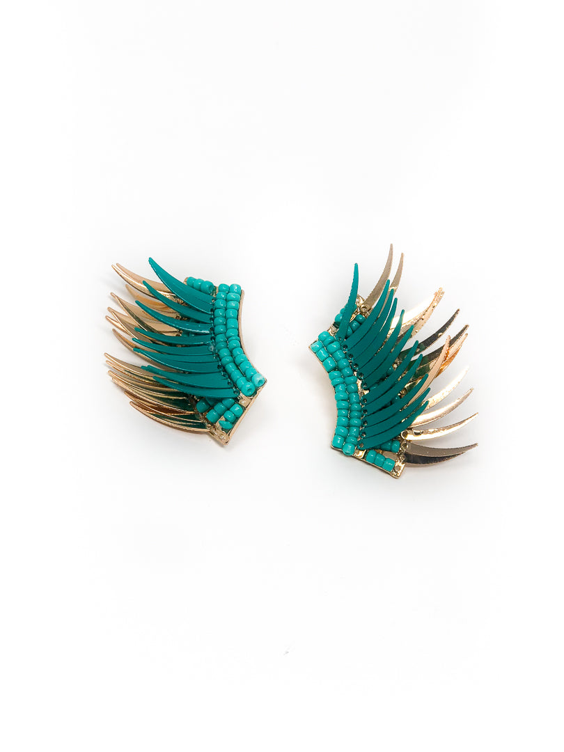 Austin Teal Beaded Wing Earrings Small