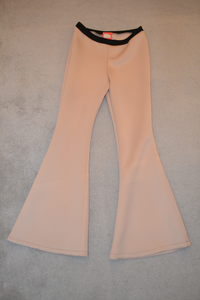 Nude Beige Stretch Flares