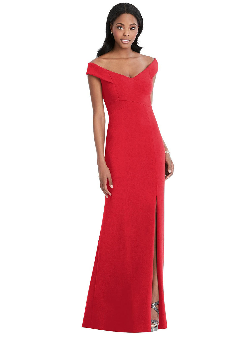 Parisian Crepe Off Shoulder Maxi Dress