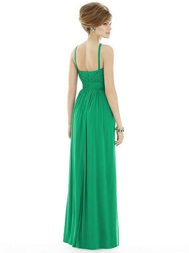 High neck dress in bright green
