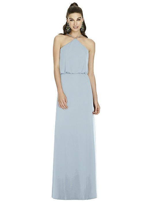 Blue halter neck maxi dress