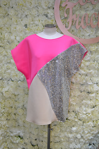 Hot Pink Tri-Shirt with Silver & Nude
