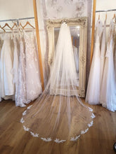 Load image into Gallery viewer, Corded lace appliqué train veil with crystal scatter