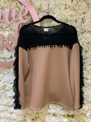 Camel & Black Spot Top