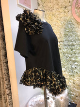 Load image into Gallery viewer, Black and Gold Ruffle Tee