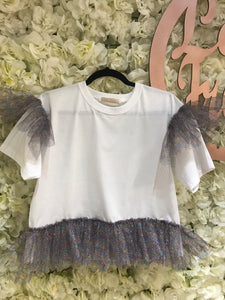 White Tee with Ruffles