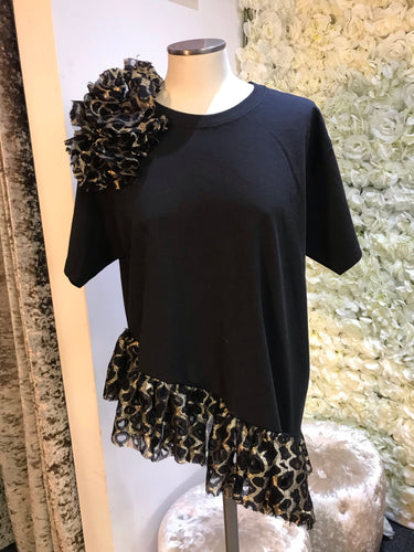 Black and Gold Ruffle Tee