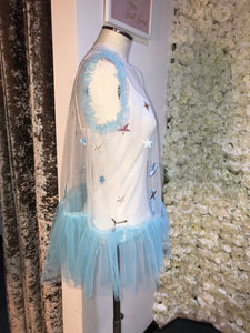 SAMPLE - White/ Aqua Space Top or Waistcoat