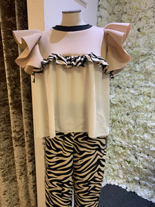 Love Zebra - Nude Frill Top No Sleeves