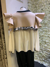 Load image into Gallery viewer, Love Zebra - Nude & Ivory Long Sleeve Frill Top