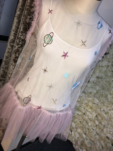 SAMPLE - White/pink Space Top or Waistcoat