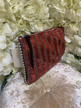 Load image into Gallery viewer, Red Stripe Clutch and Stud Bag