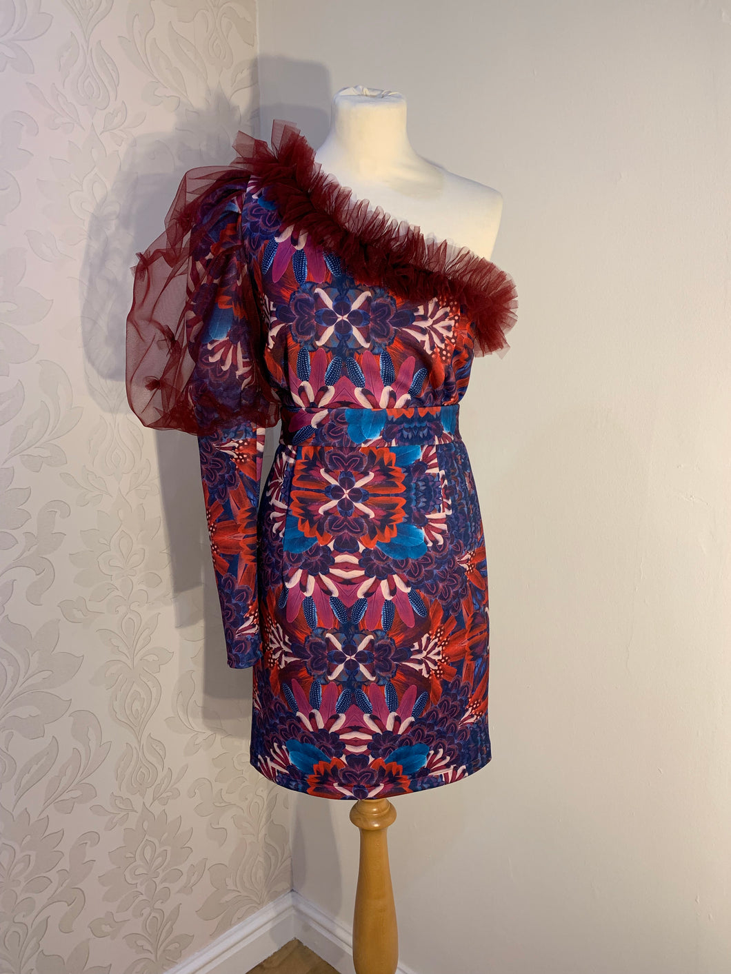 Abstract One-Sleeves Dress