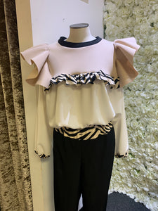 Love Zebra - Nude & Ivory Long Sleeve Frill Top