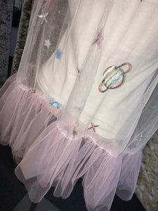 White/pink Space Top or Waistcoat