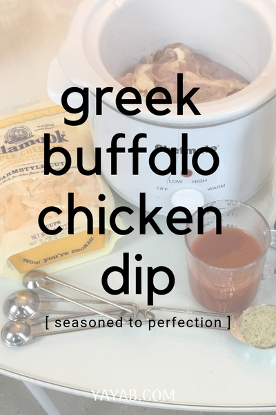 GREEK BUFFALO CROCKPOT CHICKEN DIP