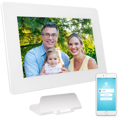 PhotoSpring 10in White Digital Photo Frame - Family