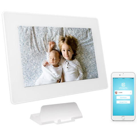 PhotoSpring 10in Digital Photo Frame White - Siblings