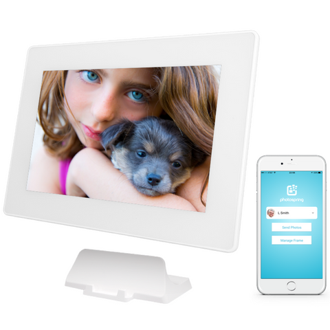 PhotoSpring 10in Digital Photo Frame White - Girl Dog