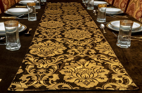 Brown and Gold Velvet Table Runner