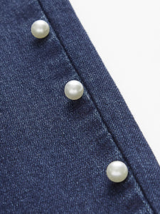 Plus Pearl Detail Bleach Wash Jeans